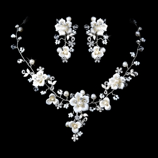 """Sweet Caroline"" Crystal, Porcelain, and Pearl Necklace and Earrings Set"