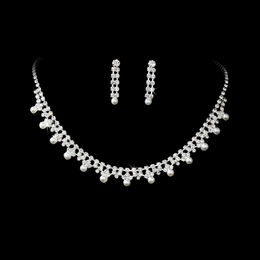 """Take a Chance"" Rhinestone and Pearl Necklace and Earrings Set"