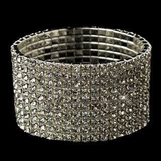 """The Good Life"" 10 Row Rhinestone Cuff Bracelet"