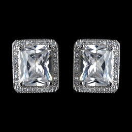 """Time Stood Still"" Antique Rhodium Cubic Zirconia (CZ) Stud Earrings"
