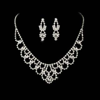 """Timeless"" Vintage-style Rhinestone Necklace and Earrings Set"