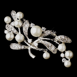 """Tranquility"" Antique Silver White Pearl and Cubic Zirconia (CZ) Brooch"
