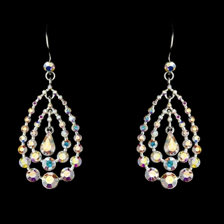 """Trifecta"" Rhinestone Chandelier Earrings (AB-Reflective on Silver)"