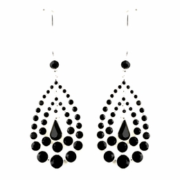 """Trifecta"" Rhinestone Chandelier Earrings (Black on Silver)"