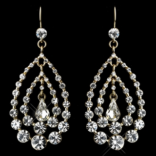 """Trifecta"" Rhinestone Chandelier Earrings (Clear on Gold)"