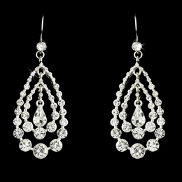"""Trifecta"" Rhinestone Chandelier Earrings (Clear on Silver)"