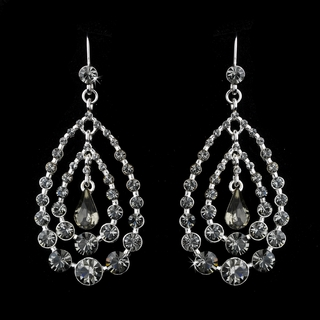 """Trifecta"" Rhinestone Chandelier Earrings (Smoke Gray on Silver)"
