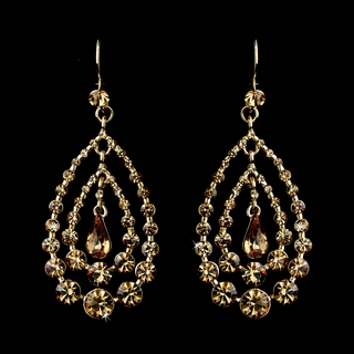 """Trifecta"" Rhinestone Chandelier Earrings (Topaz on Gold)"