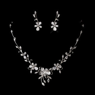"""Tropical Breeze"" Floral Cubic Zirconia (CZ) Necklace and Earrings Set"