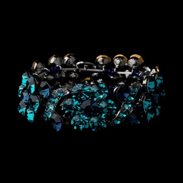 """Vivaldi"" Crystal Stretch Bracelet (Teal Blue & Navy)"