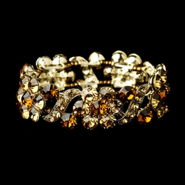 """Vivaldi"" Crystal Stretch Bracelet (Topaz on Gold)"