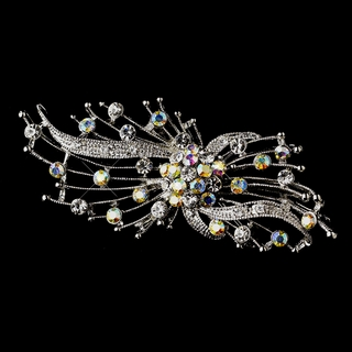 """Whisked Away"" Antique Silver Clear and AB-Reflective Rhinestone Brooch"