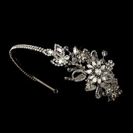 """Wildflower"" Vintage-style Side Accented Crystal and Rhinestone Headband"
