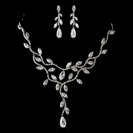 """Willow"" Antique Silver Clear CZ Crystal Necklace and Earrings Set"