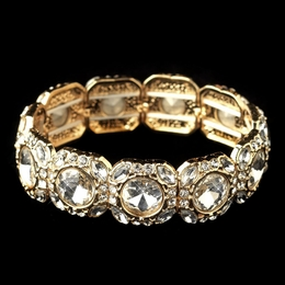 """Winner's Circle"" Clear Rhinestone Stretch Bracelet (Gold)"