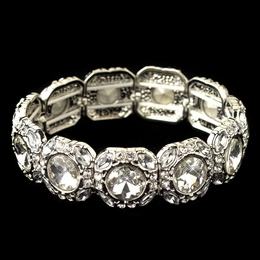 """Winner's Circle"" Clear Rhinestone Stretch Bracelet (Rhodium)"