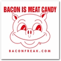Bacon is Meat Candy Car Window Sticker - Red on White