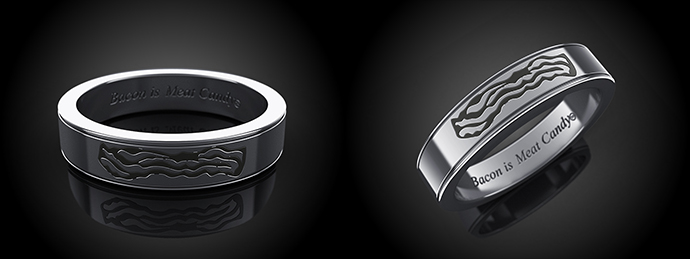 Celebrate Bacon Engraved Ring
