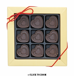 Dark Chocolate Hearts Flavored With Bacon - 9pc