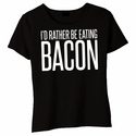 I'd Rather Be Eating Bacon Baby Doll Shirt - Black