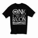 Oink If You Love Bacon Youth T-shirt - Black - Blue or Pink