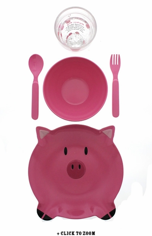 Parker Pig 5 Piece Children's Dish Set