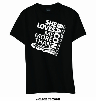She Loves Me More Than Bacon - Square Logo Women's Classic Fit Shirt