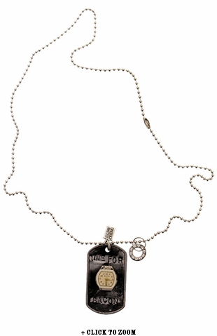 """""""Time For Bacon"""" Vintage Dog Tag Necklace"""