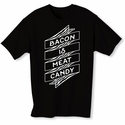 Bacon Is Meat Candy Banner Mens T-shirt - Black - Blue or Pink