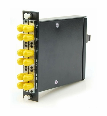 12-Fiber MTP/MPO Cassette, 12 ST/PC to 1 Male MTP, Multimode OM3