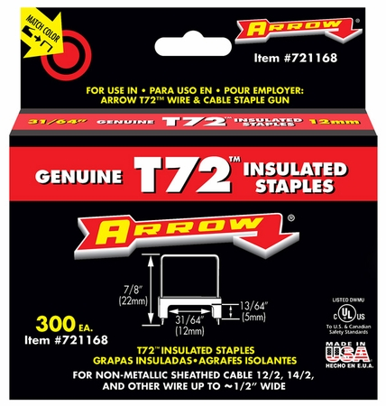 13/64 x 31/64 Insulated Staple for T72 (300 ct.)