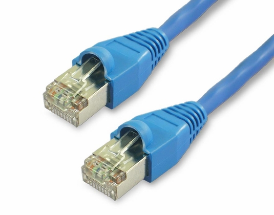 15Ft Cat6A Snagless Shielded (STP) Ethernet Cable - Blue, 10 Pack