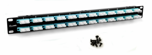 1U Flush Mount Panel, Loaded w/ 24 LC Quad Feed Through Couplers, 96-Fiber Capacity