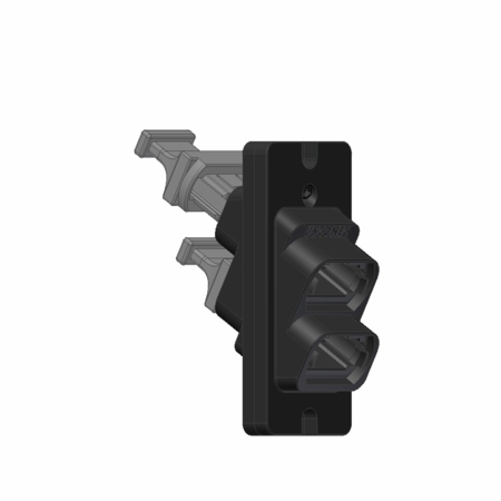1x2 Ganged MTP/MPO Fiber Coupler, Angled