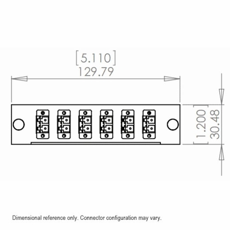 24-Fiber MTP/MPO Cassette, 6 Quad LC to 2 Male MTP, Multimode OM2