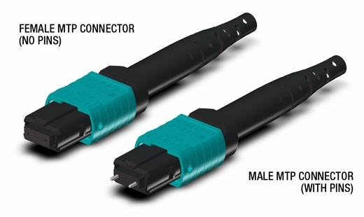 24-Fiber Single MTP/MPO to Dual MTP/MPO Fiber Optic Fanout Cable, Multimode OM3