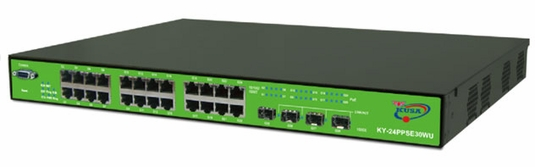 24x10/100/1000Base(T)X 30 Watt POE Ethernet ports, 4x100/1000 Base(X) SFP Ports