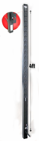 4ft Vertical Rack Mount Power Strip - 18 Outlets