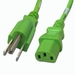 5-15P to C13 Power Cable - 10ft Green 10Amp Power Cord