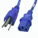 5-15P to C13 Power Cable - 1ft Blue 10Amp Power Cord