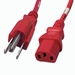 5-15P to C13 Power Cable - 8ft Red 10Amp Power Cord