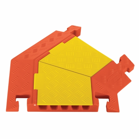 5-Channel 45° Right Turn (Yellow Lid Orange Ramp) for Linebacker  Heavy Duty 5 Channel Cable Protectors