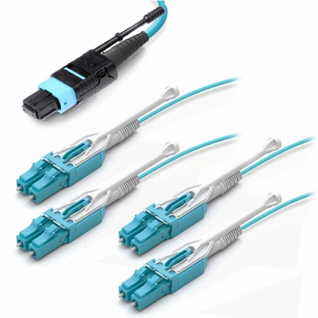 8-Fiber MTP/MPO to LC Uni-boot Fiber Optic Fanout Cable, Multimode OM3, Plenum