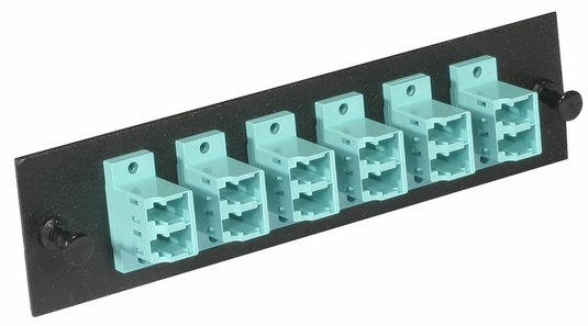 Fiber Optic Adapter Panel, 12-Fiber, LC Duplex, Zirconium Insert, Multimode OM3/OM4, Aqua