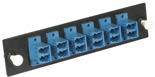 Adapter Panel, Fiber Optic, 12-Fiber, LC Duplex, Zirconium Insert, Singlemode UPC, Blue