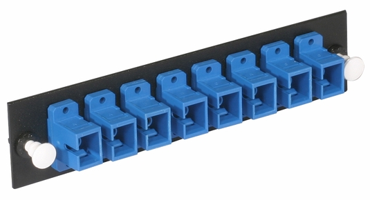 Adapter Panel, Fiber Optic, 8-Fiber, SC, Zirconium Insert, Multimode/Singlemode, Blue