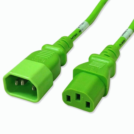 C14 to C13 Power Cable - 7ft Green 10Amp Power Cord
