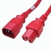 C14 to C15 Power Cable - 1ft Red 15Amp Power Cord
