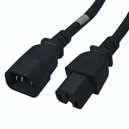 C14 to C15 Power Cable - 2ft Black 15Amp Power Cord