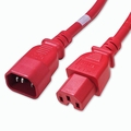 C14 to C15 Power Cable - 2ft Red 15Amp Power Cord